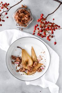 Stew pears with Yoghurt bowl and Granola